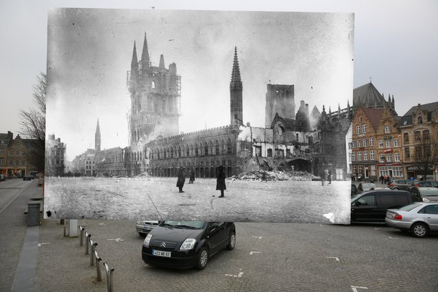 Cars are parked near Les Halles in the Grote Markt on March 10, 2014 in Ypres, Belgium. Inset: Les Halles in the Belgium town of Ypres, the site of three major battles during World War I, and almost completely devastated by bombing, 1915. (Photo by Peter Macdiarmid/Getty Images)