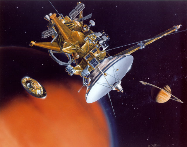 An artist's view of Cassini releasing the Huygens Probe at Saturn's moon Titan