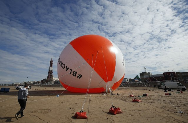 A giant inflated beach ball sits on the sand at Blackpool Beach in Blackpool, northern England August 15, 2014. The ball was inflated to a height of 16.6 meters on Friday, beating the previous world record of 15.8 meters. (Photo by Andrew Yates/Reuters)