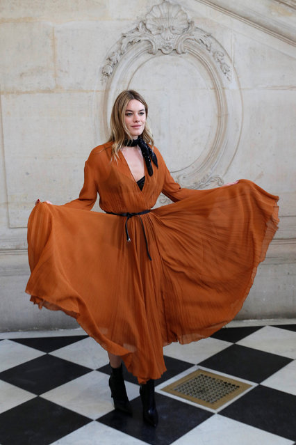 Model and actor Camille Rowe poses during a photocall before the Spring/Summer 2018 women's ready-to-wear collection show for fashion house Dior during Paris Fashion Week, France, September 26, 2017. (Photo by Philippe Wojazer/Reuters)