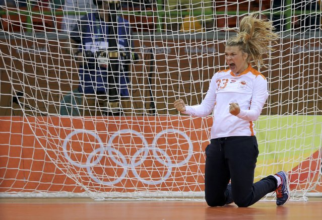 2016 Rio Olympics, Handball, Preliminary, Women's Preliminary Group B Netherlands vs France, Future Arena, Rio de Janeiro, Brazil on August 6, 2016. Goalkeeper Tess Wester (NED) of Netherlands celebrates a save. (Photo by Marko Djurica/Reuters)