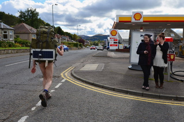 Stephen Gough the naked rambler makes his way south through Peebles in the Scottish Borders, following his release from Saughton Prison yesterday after serving his latest sentence on October 6, 2012 in Peebles, Scotland. The rambler has 18 convictions and has been in prison on and off since 2006 with offences ranging from not wearing clothes in front of the sheriff, breach of the peace and contempt of court.  (Photo by Jeff J. Mitchell)