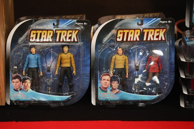 """Star Trek figures for sale at the """"Destination Star Trek London"""" convention at the ExCeL centre on October 19, 2012 in London, England. The three-day convention, which opened to the general public today, will be attended by all five actors who played captains throughout the 46-year-old series.  (Photo by Oli Scarff)"""