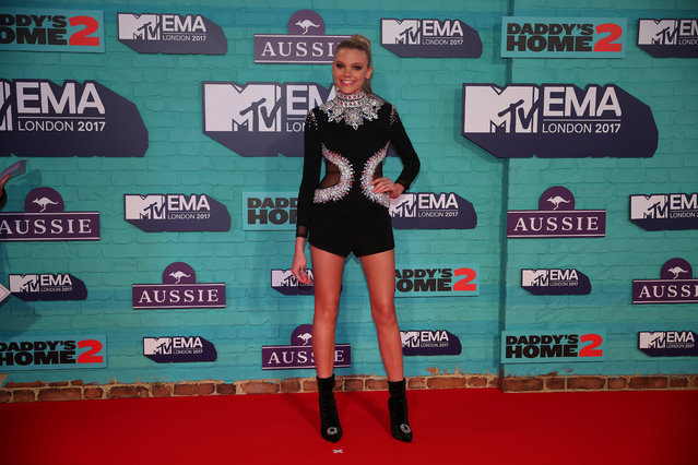British television presenter Becca Dudley arrives at the 2017 MTV Europe Music Awards at Wembley Arena in London, Britain, November 12, 2017. (Photo by Hannah McKay/Reuters)
