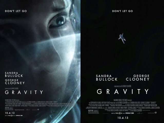 "The Key Art Awards are presented in a variety of categories covering marketing for theatrical films, television and video games. In addition to one-sheet posters, the categories include ads for use on billboards, cinema displays and online, as well as trailers and TV spots. Posters by The Refinery for the sci-fi film ""Gravity"", were designed for use in cinemas (far left) and in bus shelters (right). (Photo by Key Art Awards 2014)"