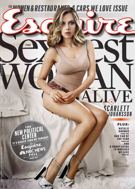 This cover image provided by Esquire magazine shows actress Scarlett Johansson on the cover of the November 2013 issue. The magazine hits newsstands on October 15. Johansson has earned the title of Esquire magazine's sexiest woman alive, for a second time. She also won in 2006. (Photo by AP Photo/Esquire)