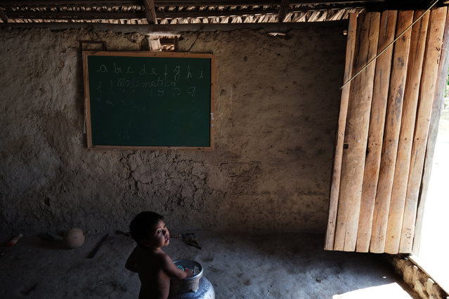 A child lingers over a propane tank in a home where a chalk board is used to educate children in Bacuri Dois Village in Araribóia Indigenous Reserve, Maranhão, Brazil on August 8, 2015. (Photo by Bonnie Jo Mount/The Washington Post)