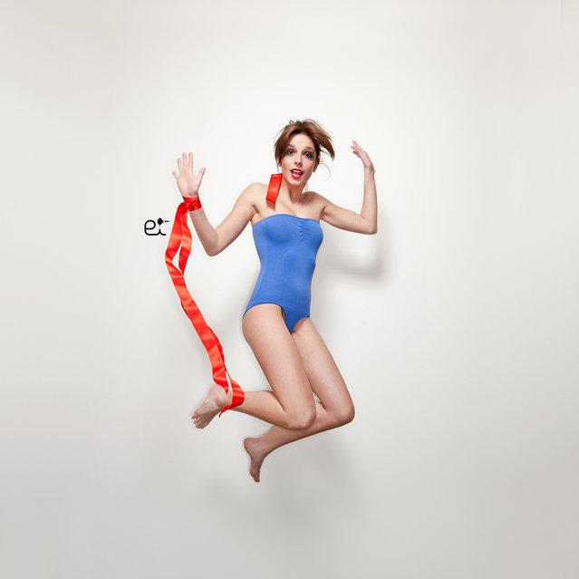 """Jumpology"". ""Gymnast in electric blue"". Model: Debora. Milano, Italia. (Photo by Ermanno Ivone)"