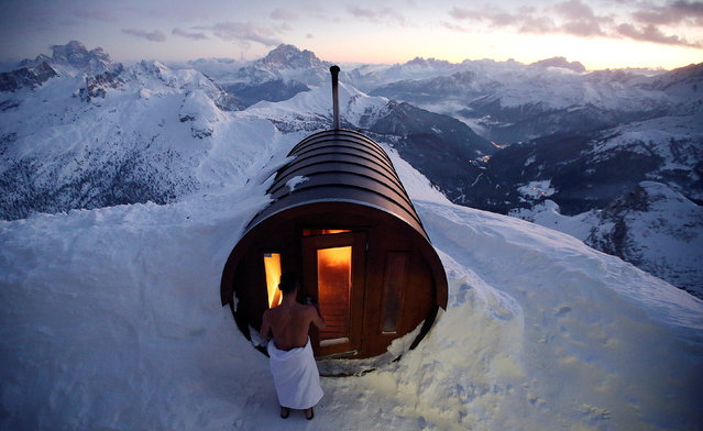 A person enter in sauna on the peak of Mount Lagazuoi in Cortina D'Ampezzo, Italy January 16, 2018. Picture taken January 16, 2017. (Photo by Stefano Rellandini/Reuters)