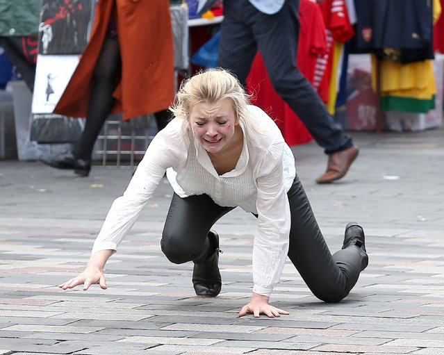 """""""Thrones"""" star, english actress Natalie Dormer is spotted in character filming for new thriller """"In Darkness"""" with Ed Skrein (not pictured) on the streets of London, England, UK on September 12, 2016. Natalie was filming an action packed scene which left her with a bloody nose. In the film Natalie plays a blind musician that hears a murder being committed. Ed Skrein, the bad guy in smash hit Deadpool, co-stars in the scene. (Photo by FameFlynet UK)"""