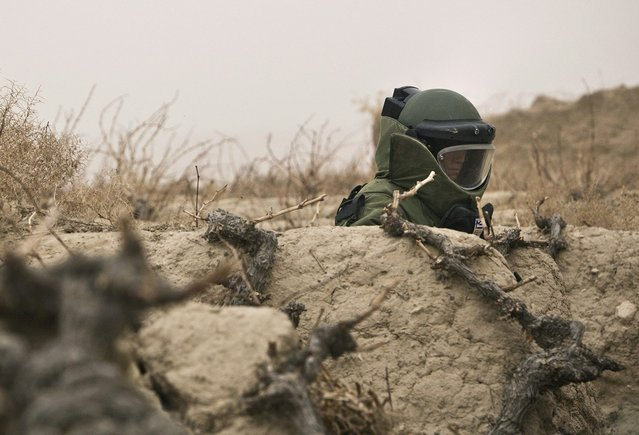 A member of a U.S. Army Explosive Ordinance Disposal (EOD) team patrols a patch of farm land during a mission near Command Outpost AJK (short for Azim-Jan-Kariz, a near-by village) in Maiwand District, Kandahar Province, Afghanistan, on January 30, 2013. (Photo by Andrew Burton/Reuters /The Atlantic)