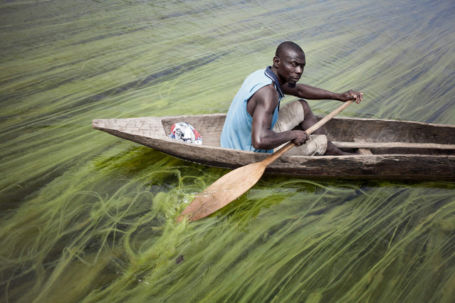 Matthias, delegate of the Mobaye refugees, leaves for work along the Oubangui River, at the Longo island, in Damara district, on March 01, 2018. The island of Longo, like other villages along the Oubangui River, has become a refuge for fishermen of the Haute-Kotto. They flee from the Anti-Balka who ransom them and kidnap them to force them to become combatants, notably through ritual scarifications. (Photo by Florent Vergnes/AFP Photo)