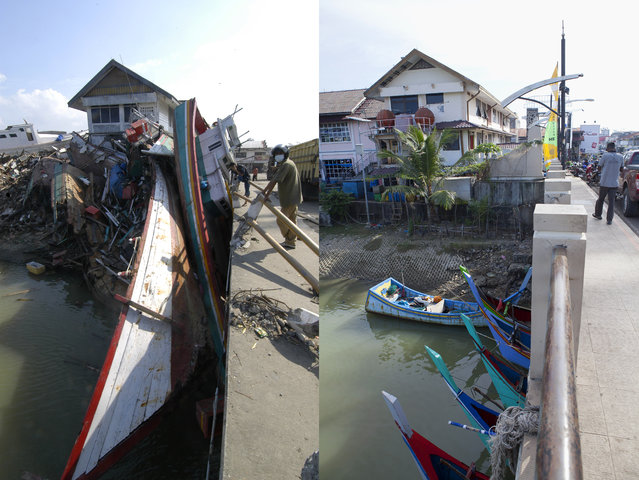 LEFT IMAGE: A scene of devastation on the Sungai Krueng river after the Tsunami in Banda Aceh, 150 miles from southern Asia's massive earthquake's epicenter on Tuesday January 6, 2005 in Banda Aceh, Indonesia. RIGHT IMAGE: A scene from a bridge over the Sungai Krueng river prior to the ten year anniversary of the 2004 earthquake and tsunami on December 13, 2014 in Banda Aceh, Indonesia. (Photo by Stephen Boitano/Barcroft Media)