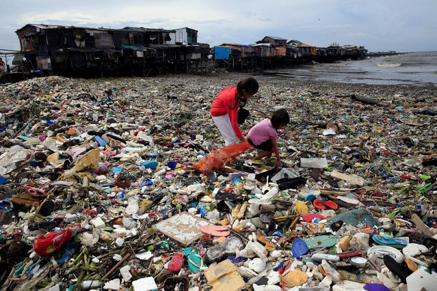 Children take advantage of the gloomy weather to collect washed up rubbish brought by crashing waves due to strong winds of Super Typhoon Haima, local name Lawin, which they will sell at junk shops along the coastal areas, in metro Manila, Philippines October 20, 2016. (Photo by Romeo Ranoco/Reuters)