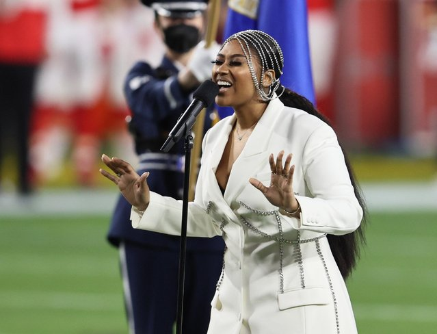 Jazmine Sullivan performs during the Super Bowl LV Pregame at Raymond James Stadium on February 07, 2021 in Tampa, Florida. (Photo by Matthew Emmons/USA TODAY Sports)