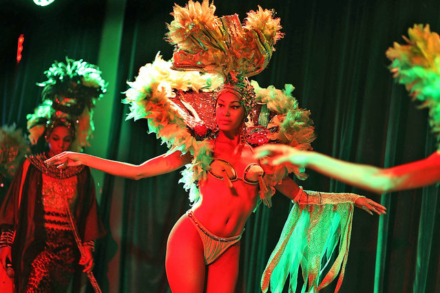 El Tropicana de Cuba dancers rehearse for their three day debut at the El Tucan modern-day cabaret after the dance troupes last visit to the United States 32 years ago on December 30, 2015 in Miami, Florida. As the United States and Cuba continue a normalization of relations the 15 visiting dancers are part of a cultural exchange with Cuba and it's hoped that the audience will be transported to Cuba with the rhythm, the sounds, the tastes, and the sights of Tropicana. (Photo by Joe Raedle/Getty Images)