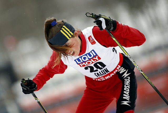 Maida Drndic of Serbia skis during women's cross-country 5 km free sprint qualification at the Nordic World Ski Championships in Falun February 18, 2015. (Photo by Kai Pfaffenbach/Reuters)