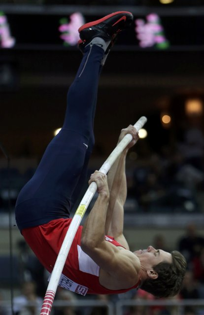 Adam Helcelet of the Czech Republic competes in the men's heptathlon pole vault event during the European Indoor Championships in Prague March 8, 2015. REUTERS/David W Cerny (CZECH REPUBLIC  - Tags: SPORT ATHLETICS)