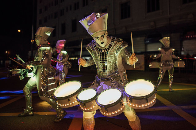 Performers participate at the 2016 Cathay Pacific International Chinese New Year Night Parade on February 8, 2016 in Hong Kong. The Chinese Lunar New Year also known as the Spring Festival, which is based on the Lunisolar Chinese calendar, is celebrated from the first day of the first month of the lunar year and ends with Lantern Festival on the fifteenth day. (Photo by Anthony Kwan/Getty Images)