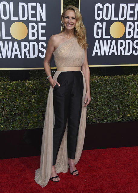 Julia Roberts arrives at the 76th annual Golden Globe Awards at the Beverly Hilton Hotel on Sunday, January 6, 2019, in Beverly Hills, Calif. (Photo by Jordan Strauss/Invision/AP Photo)