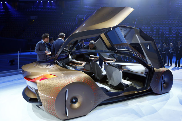 """German car manufacturer BMW presents the """"Vision Next 100"""" concept car during the 100th anniversary celebrations in Munich, Germany, Monday, March 7, 2016. (Photo by Matthias Schrader/AP Photo)"""