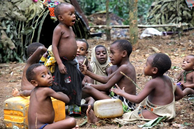 Ba'aka pygmies in their forest home, February 2016. Small children gleefully mimic the traditions of their community. Here they are enacting the daily hunting ceremony and have summoned up the leaf-cloaked forest spirit, Bobe'e. (Photo by Susan Schulman/Barcroft Images)