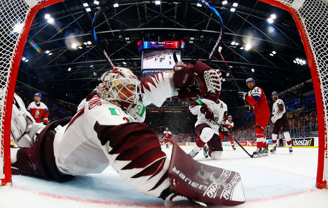 Dominik Simon (CZE) scores goal during the match between Czech Republic and Latvia within the 2019 IIHF World Championship in Bratislava, Slovakia, on May 16, 2019. (Photo by Vasily Fedosenko/Reuters)