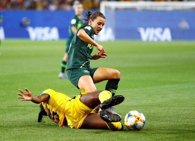 Jamaica's Konya Plummer in action with Australia's Emily Van Egmond during the France 2019 Women's World Cup Group C football match between Jamaica and Australia, on June 18, 2019, at the Alpes Stadium Grenoble, central-eastern France. (Photo by Emmanuel Foudrot/Reuters)