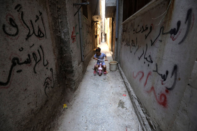 A Palestinian girl rides her bike in the Balata refugee camp near the West Bank city of Nablus, 26 June 2019. (Photo by Alaa Badarneh/EPA/EFE)