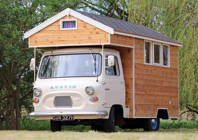 Austin Camper Shed – owned by Stephen Alleyne in Norfolk Built on a classic Austin J4 pickup truck, the Austin Camper Shed is fully equipped with cooker sink cupboards and bed. Designed as a house on wheels, this design is compact yet functional and quaint. (Photo by Cuprinol/Rex Features/Shutterstock)
