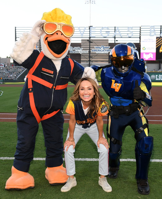 Chef Giada De Laurentiis poses on the field with Las Vegas Aviators mascots Spruce (L) and the Aviator during her celebrity chef appearance at Las Vegas Ballpark on July 13, 2019 in Las Vegas, Nevada. (Photo by Ethan Miller/Getty Images for Las Vegas Ballpark)