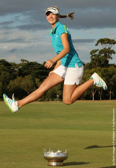 Jessica Korda of the United States celebrates winning the 2012 Women's Australia Open during day four of the 2012 Women's Australian Open at Royal Melbourne Golf Course