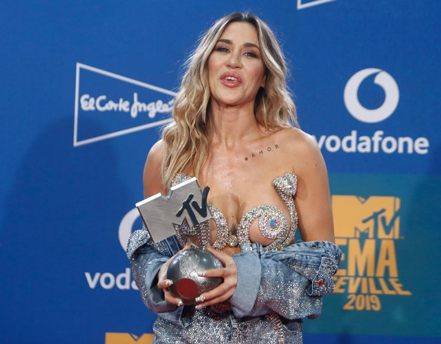 J Mena poses with the Best Latin America South Act award at the backstage during the 2019 MTV Europe Music Awards at the FIBES Conference and Exhibition Centre in Seville, Spain, November 3, 2019. (Photo by Jon Nazca/Reuters)