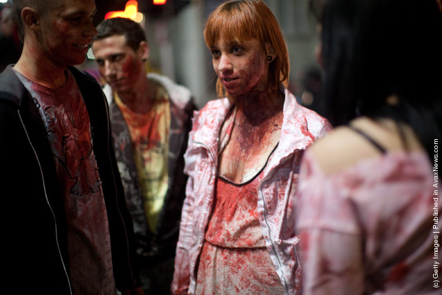 Israelis participate in a Zombie Walk during the Jewish holiday of Purim