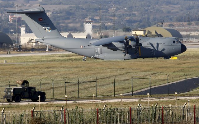 A Turkish Air Force A400M tactical transport aircraft is parked at Incirlik airbase in the southern city of Adana, Turkey, July 24, 2015. Turkey has agreed to allow U.S. planes to launch air strikes against Islamic State militants from the U.S. air base at Incirlik, close to the Syrian border, U.S. defense officials said on Thursday. (Photo by Murad Sezer/Reuters)