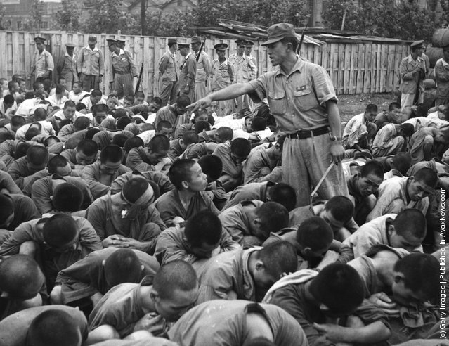 South Korean political prisoners at Pusan, Korea, 1950