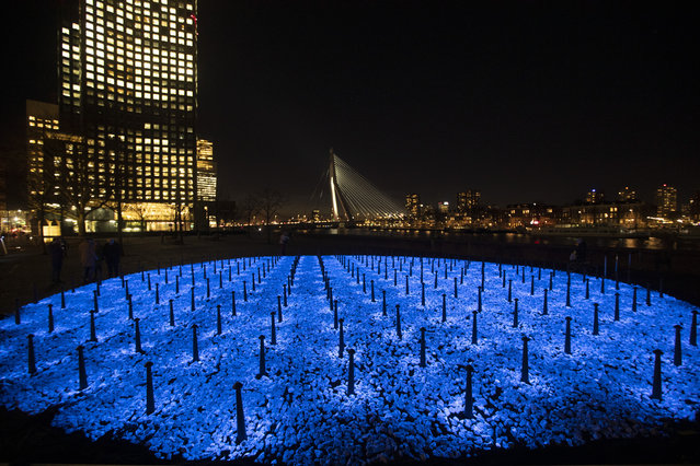 The monument Levenslicht, or Light of Life, by artist Daan Roosegaarde, consisting of 104,000 light-emitting stones for the number of Dutch Holocaust victims is unveiled in Rotterdam, Netherlands, Thursday, January 16, 2020, to mark the 75th anniversary, later this month, of the liberation of Auschwitz concentration and extermination camp. (Photo by Peter Dejong/AP Photo)
