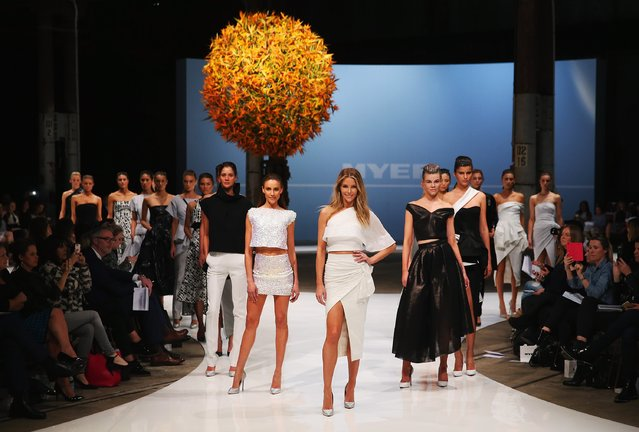 Jennifer Hawkins showcases designs by Maticevski during rehearsal ahead of the Myer Spring 2015 Fashion Launch on August 13, 2015 in Sydney, Australia. (Photo by Don Arnold/Getty Images)