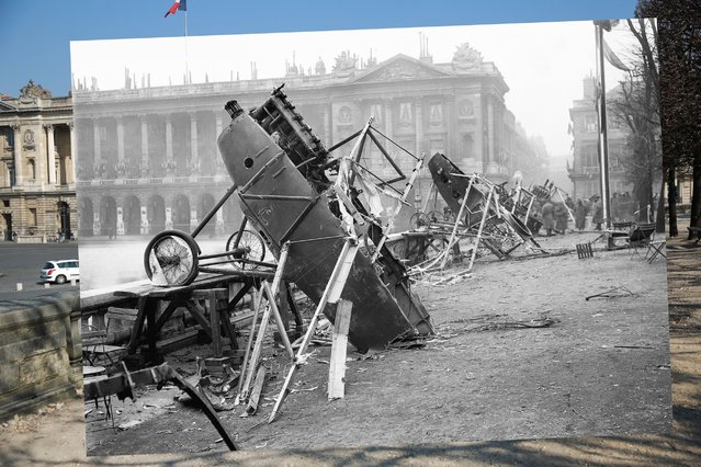 Cars are parked near Place de la Concorde on March 12, 2014 in Paris, France. Inset: World War I, German airplanes at Place de la Concorde in Paris, wrecked by celebrating crowds on the day of the restoration of Alsace-Lorraine, November 18, 1918. (Photo by Peter Macdiarmid/Getty Images)