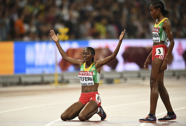 Ethiopia's Senbere Teferi (L) celebrates finishing second in women's 5,000 metres final during the 15th IAAF World Championships at the National Stadium in Beijing, China August 30, 2015. (Photo by Dylan Martinez/Reuters)