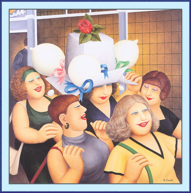Hen Party II. Artwork by Beryl Cook