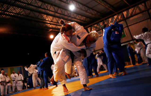 2016 Rio Olympics, Judo, Refugee Olympic Team Training, Reacao Institute, Rio De Janeiro, Brazil on July 29, 2016. Refugee and judo athlete from the Democratic Republic of Congo Yolande Mabika (C) trains during a  training session. (Photo by Nacho Doce/Reuters)