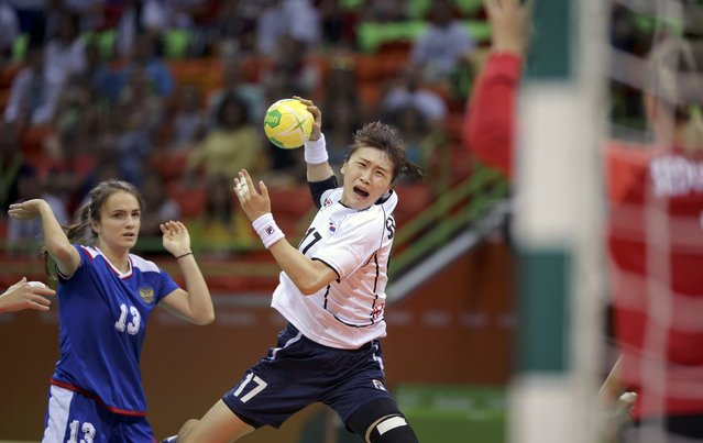2016 Rio Olympics, Handball, Preliminary, Women's Preliminary Group B Russia vs South Korea, Future Arena, Rio de Janeiro, Brazil on August 6, 2016. Sim Hae-In (KOR) of South Korea in action. (Photo by Marko Djurica/Reuters)