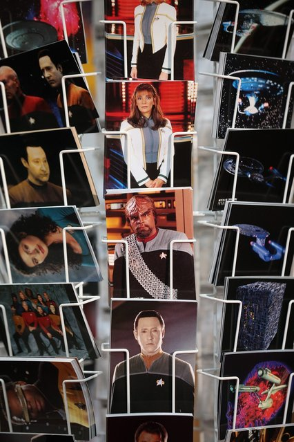 """Postcards for sale at the """"Destination Star Trek London"""" convention at the ExCeL centre on October 19, 2012 in London, England. The three-day convention, which opened to the general public today, will be attended by all five actors who played captains throughout the 46-year-old series.  (Photo by Oli Scarff)"""