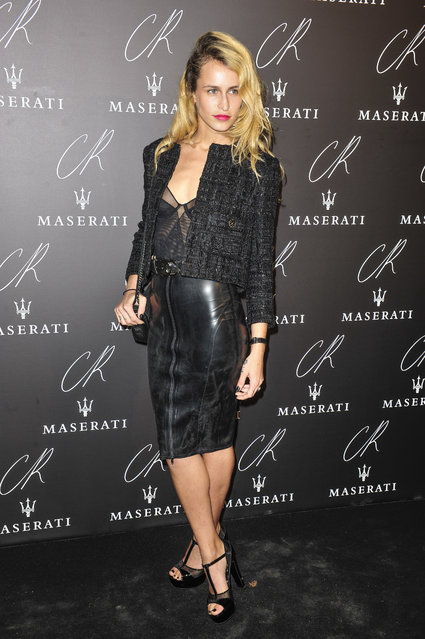 Alice Dellal poses at Carine Roitfeld & Stephen Gan celebration of the launch of CR Fashion Book N.5 in Paris, Tuesday, September 30, 2014. (Photo by Zacharie Scheurer/AP Photo)