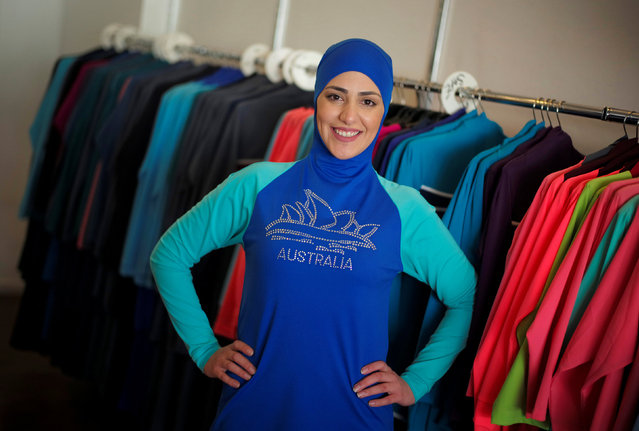"""Model Salwa Elrashid models a """"burkini"""", designed by Lebanese-born Australian Aheda Zanetti at her fashion store in Sydney, August 23, 2016. (Photo by Jason Reed/Reuters)"""