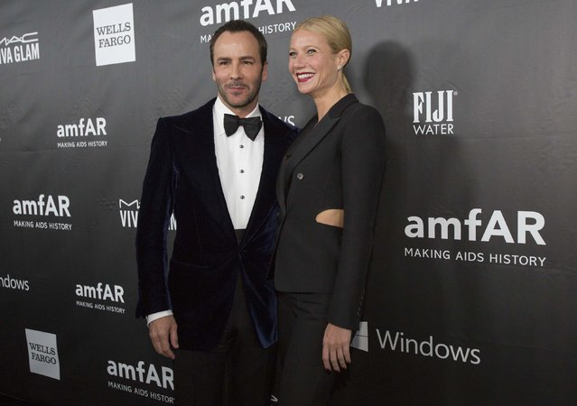 Actress Gwyneth Paltrow poses with fashion designer Tom Ford at the amfAR's fifth annual Inspiration Gala in Los Angeles, California October 29, 2014. (Photo by Mario Anzuoni/Reuters)