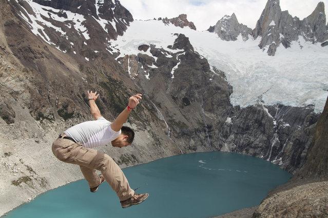 """Jumpology"". ""No worries!"". Laguna de tres, Patagonia Argentina. (Photo by maybemaq)"
