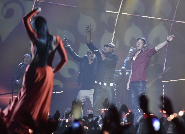 Singer Enrique Iglesias performs on stage during the 2014 MTV Europe Music Awards at the SSE Hydro Arena in Glasgow. (Photo by Toby Melville/Reuters)
