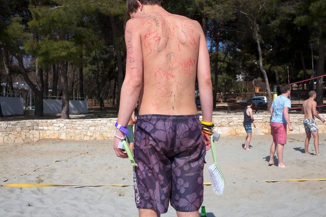 A British university student with permanent marker drawings on his torso and a dust pan brush padlocked to his wrist on March 29, 2012. He is one of around a 1000 students on the inaugural ILOVETOUR to the town of Porec in Croatia. (Photo by Peter Dench/Getty Images Reportage)